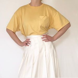 Vintage 90s Minimal Buttercream Yellow T-Shirt
